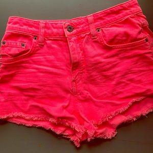 Hot pink high waisted jean shorts